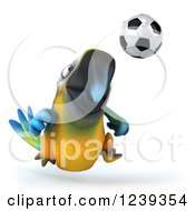 Clipart Of A 3d Blue And Yellow Macaw Parrot Playing Soccer Royalty Free Illustration
