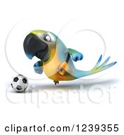 Clipart Of A 3d Blue And Yellow Macaw Parrot Playing Soccer 2 Royalty Free Illustration