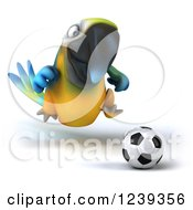 Clipart Of A 3d Blue And Yellow Macaw Parrot Playing Soccer 3 Royalty Free Illustration