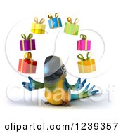 Clipart Of A 3d Blue And Yellow Macaw Parrot Juggling Gifts Royalty Free Illustration