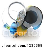 Clipart Of A 3d Blue And Yellow Macaw Parrot Looking Through A Magnifying Glass 2 Royalty Free Illustration