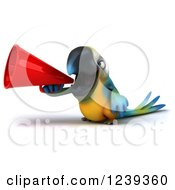 Clipart Of A 3d Blue And Yellow Macaw Parrot Announcing With A Megaphone Royalty Free Illustration