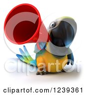 Clipart Of A 3d Blue And Yellow Macaw Parrot Announcing With A Megaphone 2 Royalty Free Illustration