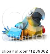Clipart Of A 3d Blue And Yellow Macaw Parrot Carrying Shopping Bags Royalty Free Illustration