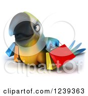 Clipart Of A 3d Blue And Yellow Macaw Parrot Carrying Shopping Bags 2 Royalty Free Illustration