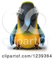 Clipart Of A 3d Blue And Yellow Macaw Parrot Royalty Free Illustration