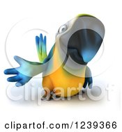 Clipart Of A 3d Blue And Yellow Macaw Parrot Presenting Royalty Free Illustration