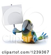 Clipart Of A 3d Blue And Yellow Macaw Parrot Holding Up A Blank Sign Royalty Free Illustration