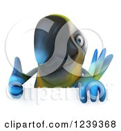 Clipart Of A 3d Blue And Yellow Macaw Parrot Holding A Thumb Up Over A Sign Royalty Free Illustration