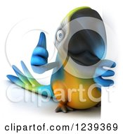 Clipart Of A 3d Blue And Yellow Macaw Parrot Holding A Thumb Up Around A Sign Royalty Free Illustration