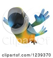 Clipart Of A 3d Blue And Yellow Macaw Parrot Flying Royalty Free Illustration