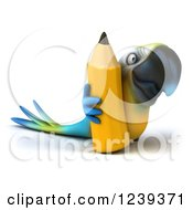 Clipart Of A 3d Blue And Yellow Macaw Parrot With A Giant Pencil Royalty Free Illustration