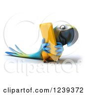 Clipart Of A 3d Blue And Yellow Macaw Parrot Writing With A Giant Pencil Royalty Free Illustration