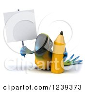 Clipart Of A 3d Blue And Yellow Macaw Parrot With A Giant Pencil And Blank Sign Royalty Free Illustration