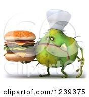 3d Green Germ Monster Holding A Double Cheeseburger 2