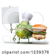 3d Green Germ Monster Holding A Double Cheeseburger And A Blank Sign