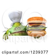 3d Green Germ Monster Holding A Double Cheeseburger Over A Sign