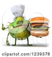 3d Green Germ Monster Holding A Double Cheeseburger And Thumb Up