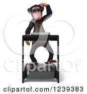 Clipart Of A 3d Chimp Monkey Walking And Thinking On A Treadmill Royalty Free Illustration