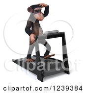 Clipart Of A 3d Chimp Monkey Walking And Thinking On A Treadmill 2 Royalty Free Illustration