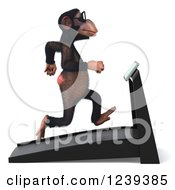 Clipart Of A 3d Bespectacled Chimp Monkey Running On A Treadmill 2 Royalty Free Illustration