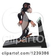Clipart Of A 3d Chimp Monkey Walking On A Treadmill Royalty Free Illustration