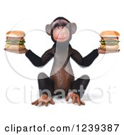Clipart Of A 3d Chimp Monkey Holding Cheeseburgers Royalty Free Illustration