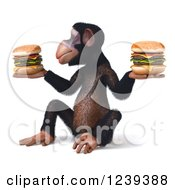 Clipart Of A 3d Chimp Monkey Holding Cheeseburgers 2 Royalty Free Illustration