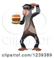 Clipart Of A 3d Chimp Monkey Thinking And Holding A Cheeseburger Royalty Free Illustration