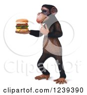Clipart Of A 3d Chimp Monkey Thinking And Holding A Cheeseburger 2 Royalty Free Illustration