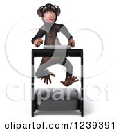 Clipart Of A 3d Bespectacled Chimp Monkey Running On A Treadmill Royalty Free Illustration
