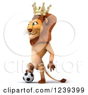 Clipart Of A 3d Lion King Resting A Foot On A Soccer Ball Royalty Free Illustration
