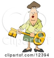 Woman Holding A Skeleton Key Clipart Illustration