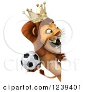 Clipart Of A 3d Lion King Roaring And Holding A Soccer Ball Around A Sign Royalty Free Illustration