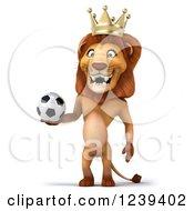3d Lion King Holding A Soccer Ball