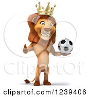 Clipart Of A 3d Lion King Holding A Thumb Up And A Soccer Ball Royalty Free Illustration