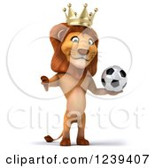 Clipart Of A 3d Lion King Holding A Thumb Down And A Soccer Ball Royalty Free Illustration