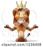 Clipart Of A 3d Lion King Meditating Royalty Free Illustration