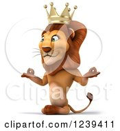 Clipart Of A 3d Lion King Meditating 2 Royalty Free Illustration