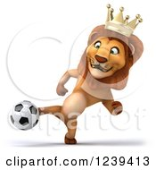 Clipart Of A 3d Lion King Holding A Soccer Ball 4 Royalty Free Illustration