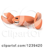 Clipart Of A 3d Happy Orange Crab 2 Royalty Free Illustration