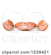 Clipart Of A 3d Happy Orange Crab 3 Royalty Free Illustration