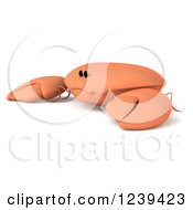 Clipart Of A 3d Sad Orange Crab 2 Royalty Free Illustration