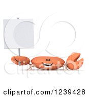 Clipart Of A 3d Happy Orange Crab Holding Up A Blank Sign Royalty Free Illustration by Julos