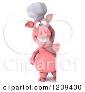 Clipart Of A 3d Happy Chef Pig Looking Around A Sign Royalty Free Illustration by Julos