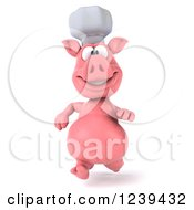 Clipart Of A 3d Chef Pig Running Royalty Free Illustration by Julos