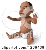 Clipart Of A 3d Black Baby Boy Sitting 2 Royalty Free Illustration