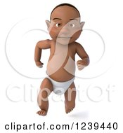 Clipart Of A 3d Black Baby Boy Running 3 Royalty Free Illustration