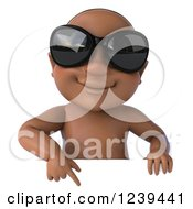 Clipart Of A 3d Black Baby Boy Wearing Sunglasses And Pointing Down To A Sign Royalty Free Illustration