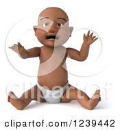 Clipart Of A 3d Black Baby Boy Sitting Royalty Free Illustration
